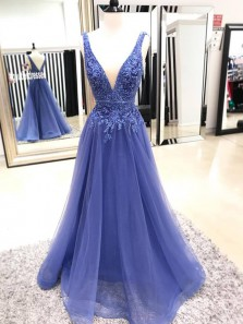 Elegant Ball Gown V Neck Open Back Tulle Blue Long Prom Dresses with Appliques, Formal Evening Dresses