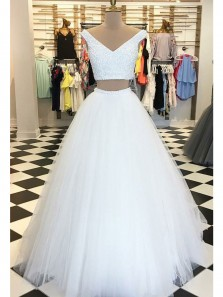Ball Gown Two Piece V Neck Tulle White Long Prom Dresses with Beaded, Formal Evening Dresses