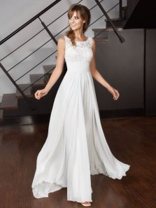 Charming A Line Scoop Chiffon Ivory Long Wedding Dresses with Lace, Beach Wedding Dresses
