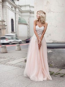 Charming A Line Sweetheart Tulle Pink Wedding Dresses with Appliques, Beach Wedding Dresses