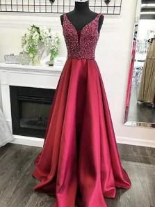 Charming A Line V Neck Open Back Satin Burgundy Long Prom Dresses with Beading, Formal Evening Dresses