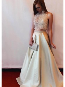 Gorgeous Ball Gown Two Piece Round Neck Open Back Champagne Long Prom Dresses with Beading, Quinceanera Dresses