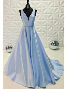 Elegant Ball Gown V Neck Open Back Satin Light Blue Long Prom Dresses with Pockets, Quinceanera Dresses
