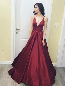 Charming Ball Gown V Neck Spaghetti Straps Burgundy Satin Long Prom Dresses with Pockets, Formal Evening Dresses PD0809005
