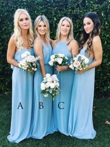 Elegant Sheath Halter Chiffon Blue Long Bridesmaid Dresses Under 100 BD0809002