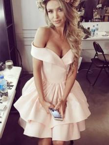 Cute A Line Off the Shoulder Elastic Satin Champagne Short Homecoming Dresses, Formal Short Prom Dresses