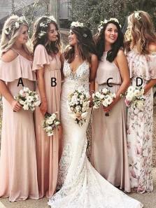 Simple Sheath Off the Shoulder Blush Chiffon Long Bridesmaid Dresses Under 100 BD0809003