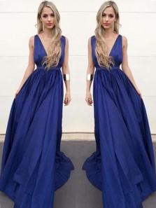 Charming A Line V Neck Open Back Elastic Satin Royal Blue Long Prom Dresses, Formal Evening Dresses