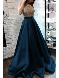 Elegant Ball Gown Round Neck Navy Satin Beading Long Prom Dresses with Pockets, Formal Evening Dresses
