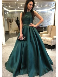 Elegant Ball Gown Round Neck Dark Green Satin Long Prom Dresses with Beading, Formal Evening Dresses
