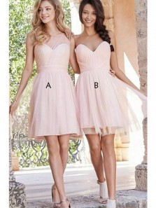 Cute A Line Sweetheart Tulle Pink Short Bridesmaid Dresses Under 100 BD0809005