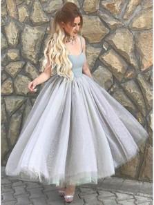Elegant A Line Sweetheart Tulle Grey Tea Length Homecoming Dresses, Formal Long Prom Dresses HD0809005