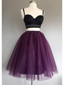 Cute A Line Two Piece Sweetheart Spaghetti Straps Tulle Grape Short Homecoming Dresses, Short Prom Dresses HD0809006