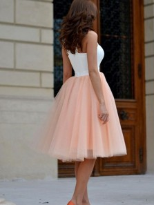 Cute A Line Sweetheart White and Peach Tulle Short Homecoming Dresses HD0809008