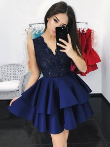 Cute A Line V Neck Open Back Satin Navy Short Homecoming Dresses with Appliques, Formal Short Prom Dresses