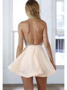 Cute A Line Halter Backless Sequins Peach Short Homecoming Dresses, Short Prom Dresses HD0809028