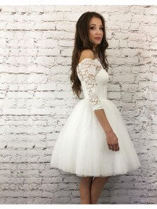 Charming A Line Off the Shoulder Half Sleeves White Lace Short Homecoming Dresses, Formal Elegant Prom Dresses HD0810002