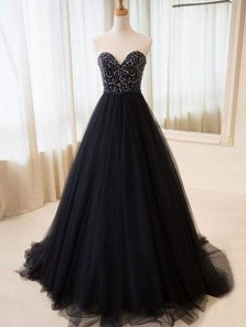 Elegant Ball Gown Sweetheart Open Back Tulle Black Long Prom Dresses with Beading, Quinceanera Dresses