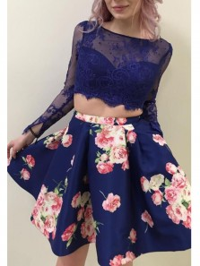 Fashion A Line Two Piece Scoop Long Sleeves Floral Lace Short Homecoming Dresses with Pockets