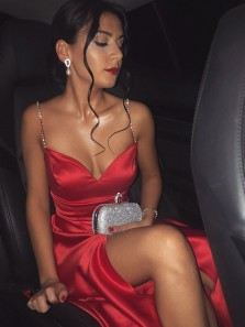 Charming A Line Sweetheart Spaghetti Straps Satin Red Long Prom Dresses with Beading, Formal Evening Dresses, Cocktail Dresses