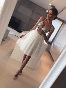 Charming A Line V Neck Spaghetti Straps Tulle Silvery Sequins Short Homecoming Dresses Under 100