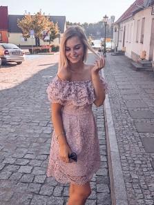 Elegant Sheath Off the Shoulder Blush Lace Short Homecoming Dresses, Foraml Short Prom Dresses