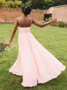 Simple A Line Sweetheart Pink Chiffon Long Bridesmaid Dresses Under 100 BD0810007