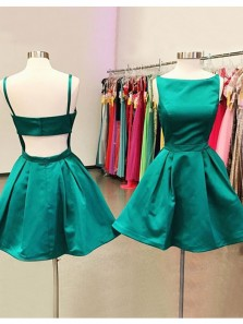 Simple A Line Scoop Open Back Green Satin Short Homecoming Dresses with Pockets Under 100