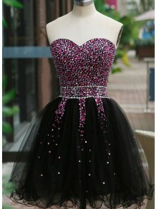 Gorgeous A Line Sweetheart Black Short Homecoming Dresses with Beading, Little Black Dresses, Short Prom Dresses HD081008