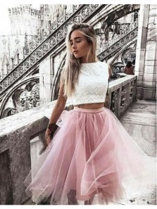 Cute Two Piece Round Neck Blush Pink Tulle White Lace Short Homecoming Dresses