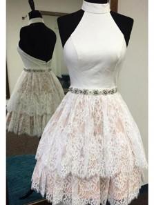 Elegant A Line Hatler Open Back White Lace Short Homecoming Dresses with Beading, Formal Short Prom Dresses