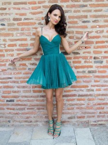Cute A Line V Neck Spaghetti Straps Chiffon Teal Short Homecoming Dresses, Formal Short Prom Dresses
