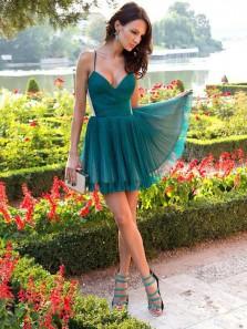 Cute A Line V Neck Spaghetti Straps Chiffon Teal Short Homecoming Dresses, Formal Short Prom Dresses