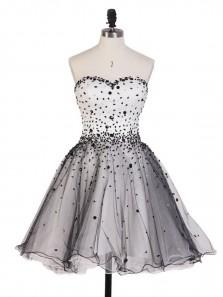 Cute A Line Sweetheart Open Back Beaded Short Homecoming Dresses, Elegant Formal Short Prom Dresses