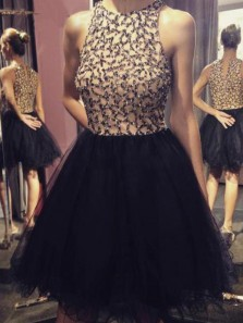 Cute A Line Round Neck Tulle Back Short Homecoming Dresses with Beading, Short Prom Dresses