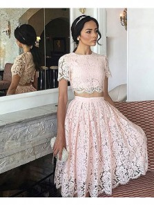 Elegant A Line Two Piece Round Neck Cap Sleeves Peal Pink Lace Short Homecoming Dresses, Formal Short Prom Dresses HD0810014