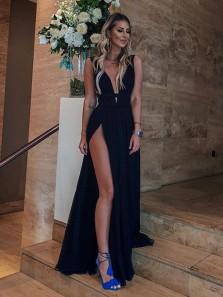 Sexy A Line V Neck High Slit Chiffon Black Long Prom Dresses, Simple Evening Dresses, Party Dresses