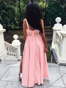 Charming A Line Round Neck Open Back Sequins Appliques Slit Pink Long Prom Dresses, Beautiful Party Dresses