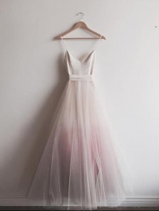 Cute A Line V Neck Tulle Long Prom Dresses, Simple Formal Evening Dresses
