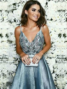 Charming A Line V Neck Open Back Beaded Grey Long Prom Dresses with Train, Formal Evening Dresses PD0812004