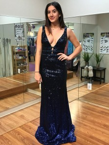 Charming Mermaid V Neck Open Back Navy Sequins Long Prom Dresses, Formal Party Dresses PD0812005