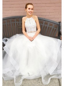 Gorgeous A Line Two Piece Halter Beaded White Long Prom Dresses, Quinceanera Dresses