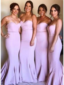 Elegant Mermaid Sweetheart Elastic Satin Pink Long Bridesmaid Dresses BD0812007