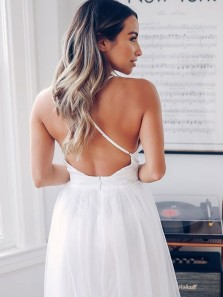 Charming A Line V Neck Cross Back Slit White Long Wedding Dresses, Beach Wedding Dresses