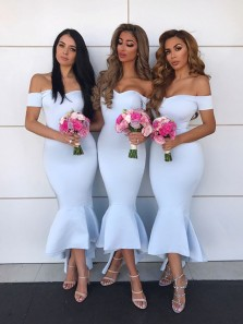 Charming Mermaid Sweetheart White Long Bridesmaid Dresses Under 100