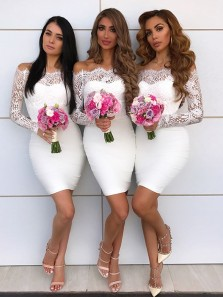 Charming Sheath Off the Shoulder Long Sleeves Lace white Short Bridesmaid Dresses
