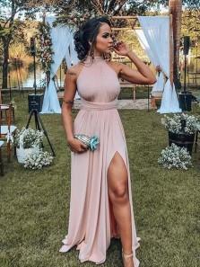 Charming A Line Halter Backless Slit Blush Elastic Satin Long Prom Dresses, Formal Party Dresses