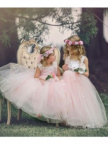 Cute A Line Round Neck Pink Tulle Long Flower Girl Dresses with Appliques Under 100