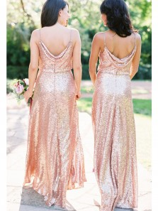 Gorgeous Sheath V Neck Open Back Blush Sequins Long Bridesmaid Dresses BD0812003