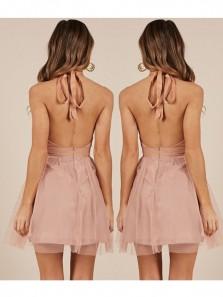 Cute A Line V Neck Backless Blush Short Homecoming Dresses Under 100, Formal Short Prom Dresses